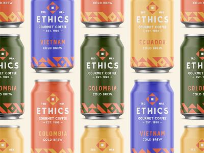 Ethics Gourmet Coffee - Packaging packaging modern coffee can brand design brand identity pattern typography logo branding