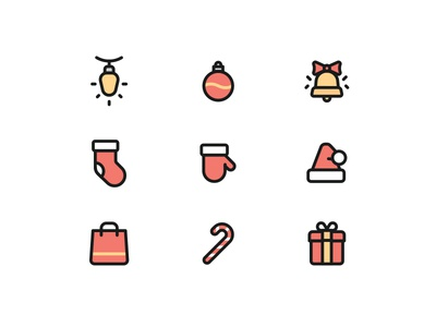 *Free* Christmas Icons / Part 1 (in colors) line set iconography icons christmas icon free free icons