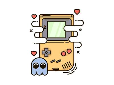 Gameboy pacman gameboy line flat illustration out line clean illustration line art