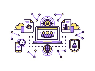 Bitcoin Exchange exchange iconography bitcoin icons vector line flat illustration out line clean illustration line art