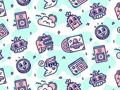 Pattern for J27 music gameboy ghost ufo dinosaur outline icon vector pattern modern icons iconography