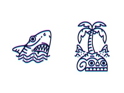 Shark Island skull shark island vector tattoo old school line art illustration outline