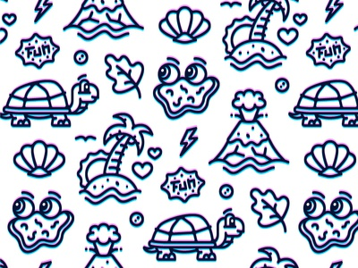 Tropical Paradise tropical island shell volcano iconography icons modern pattern vector icon outline turtle