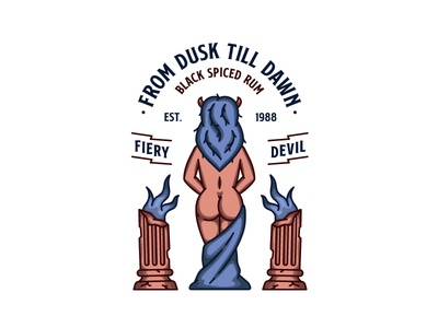 Fiery Devil vector line art illustration outline mind devil badge retro lady rum