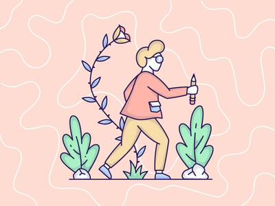 Finding Inspiration character inspiration nature mind outline illustration line art vector man