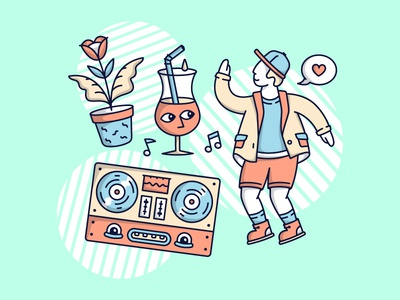 Spring Party Time dj man vector line art illustration outline mind nature party character