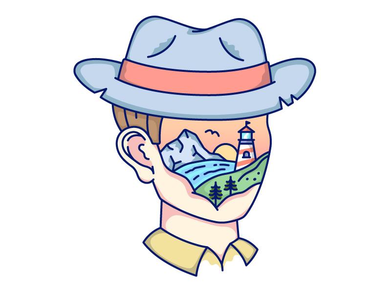 Adventure Time adventure lighthouse mountain nature head mind world outline illustration line art vector