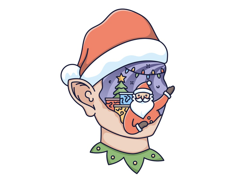 Merry Christmas! holiday abstraction elf illustration vector abstract santa christmas x mas
