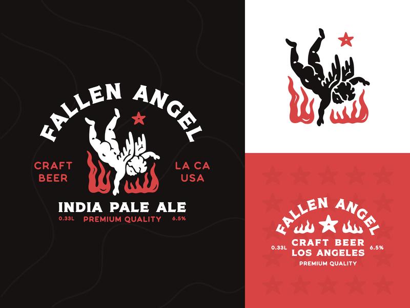 Fallen Angel Craft Beer beer label graphic design fire typography logo angel badge clean vector illustration