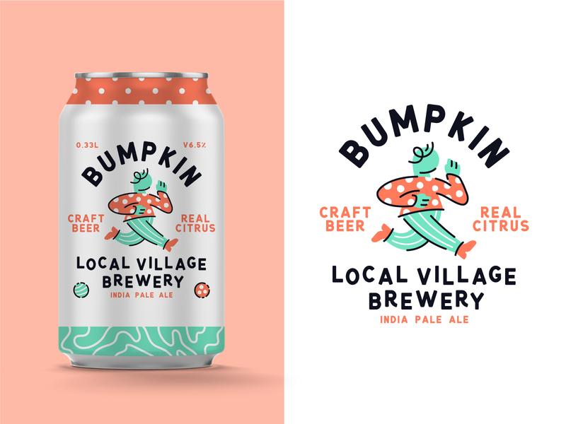 Bumpkin Craft Beer can illustration beer bumpkin typography type logodesign packaging branding badge logo vector
