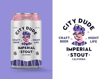 City Dude Craft Beer character can beer label illustration vector badge branding packaging type typography dude beer