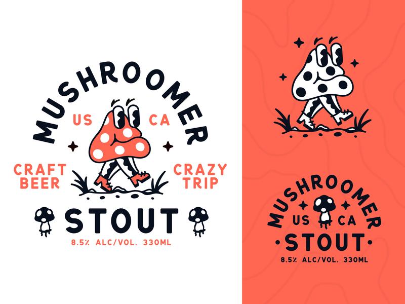 Mushroomer Craft Beer label character beer mushroom illustration badge type typography branding logo logotype vector