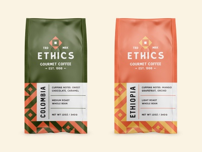 Ethics Gourmet Coffee pattern packaging vector brand identity logodesign abstract type typography logo badge branding coffee