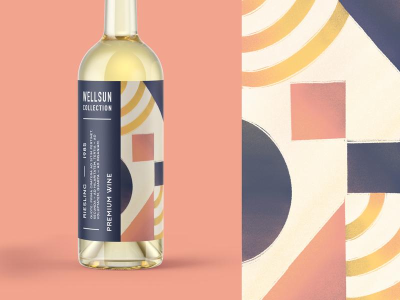 Weellsun Collection Wine pattern abstract typography packaging bottle wine type branding brand identity vector illustraion
