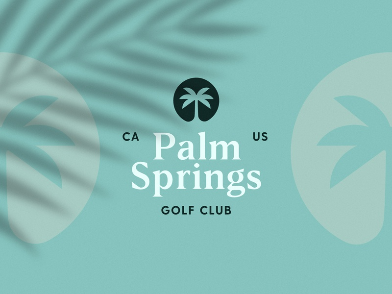 Palm Springs Golf Club type illustraion vector palm golf logotype badge brand identity typography logo design