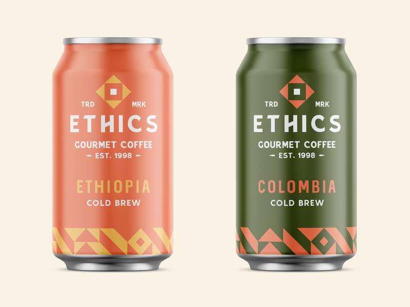 Ethics Gourmet Coffee Cold Brew branding cold brew coffee badge typography type abstract logo design brand identity vector packaging pattern