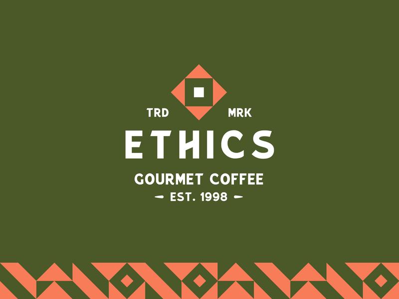 Ethics Gourmet Coffee pattern abstract logodesign logotypes typography brand identity badge logotype coffee vector type