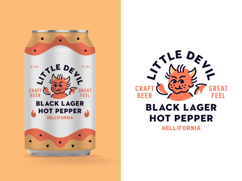 Little Devil Craft Beer devil beer badge logo typography type packaging branding badge vector illustration beer label can