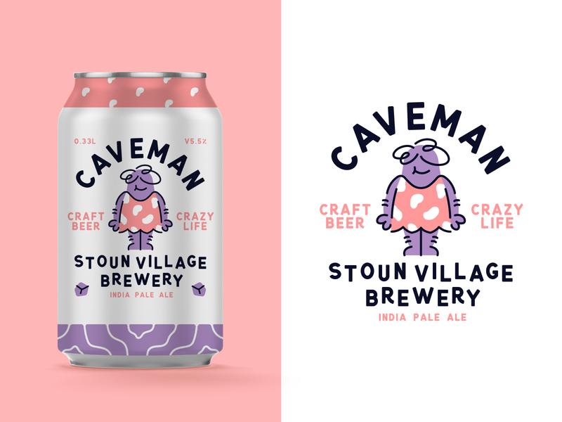 Caveman Craft Beer character beer caveman typography type packaging branding badge vector illustration beer label can
