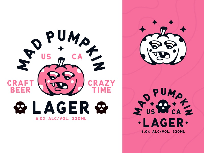 Mad Pumpkin Craft Beer character logo label branding beer branding typography type badge pumpkin mad beer vector illustration