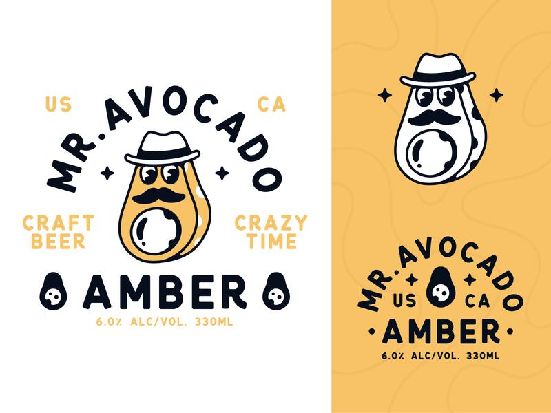 Mr. Avocado Craft Beer beer label vector typography badge branding avocado illustration type logo character