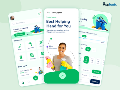 On-Demand Cleaning App for Businesses of All Genres apptunix cleaning app ui motion graphics animation illustration design branding appdevelopment appdevelopmentcompany
