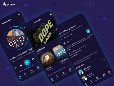 How does a Podcast App Works? The Definitive Guide app development animation logo apps mobile mobile app developers apptunix app designs app designers mobile app designs podcast app design podcast design