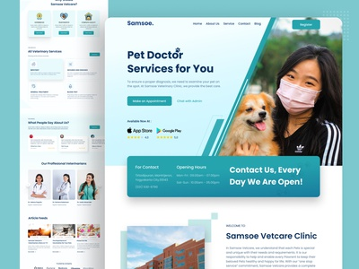 Samsoe Vetcare Clinic - Animal Health Care Landing Page healthy health health care pet logo illustration ui landing page design