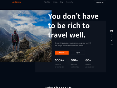 Moses Travell Landing Page🚀 popular simple business holiday travell travelling ui landing page design