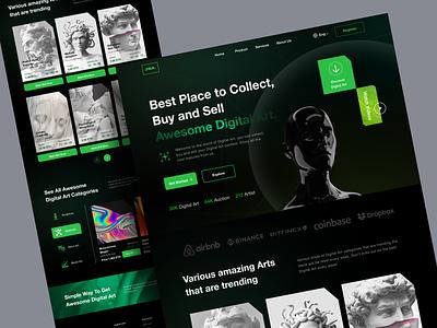 JSA - Digital Art Marketplace Landing Page nft art nft branding simple popular business ui landing page design