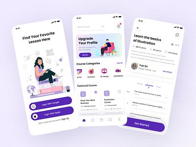 Online Course Mobile App app mobile app branding simple popular ui design