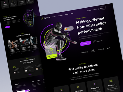 HeroFit - Fitness GYM Landing Page healthy gym fitness branding simple popular landing page ui design