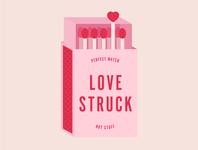 Love Struck Match Box matchbox hot stuff perfect match struck love stick match matches illo white illustration pink