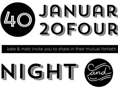 40th Birthday Invitations black white trend shadow inline invitation forty 40 night and day