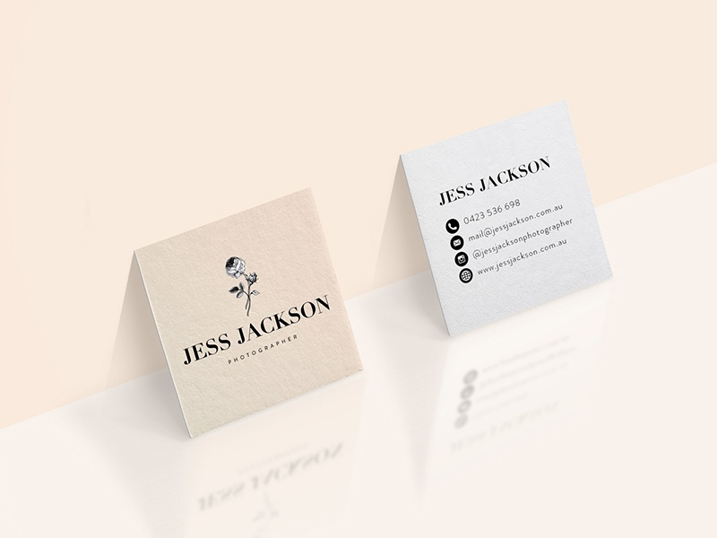 Jess Jackson Photographer • Business Cards logo brand identity mockup white black pink blush rose corporate stationery business cards photographer