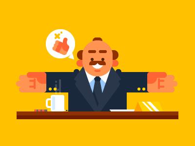 Happy Boss boss bossy chief friendly businessman workplace character happy boss good boss illustration flat vector