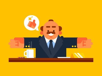 Happy Boss boss bossy chief friendly businessman workplace character happy boss good boss illustration flat vector
