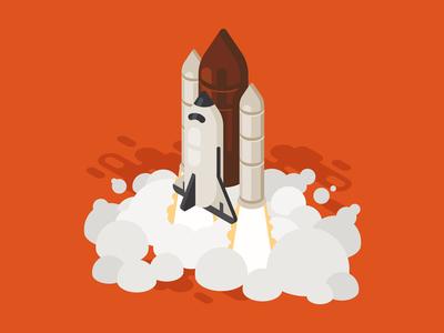 Rocket Launch isometry flight spaceship rocketship startup shuttle isometric illustration ship rocket launch vector
