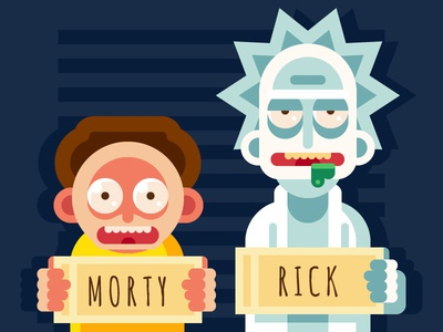 Rick and Morty rick and morty cartoon photo jail fan morty rick illustration vector flat