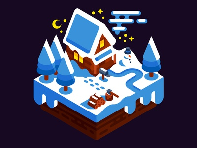 Winter House isometry game holiday snowman wooden xmas snow illustration house winter isometric vector