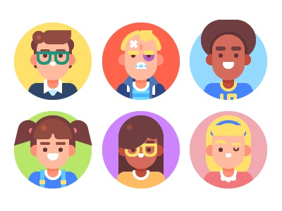 Kids Avatars illustration teen character icon flat vector bully nerd set children avatar kid
