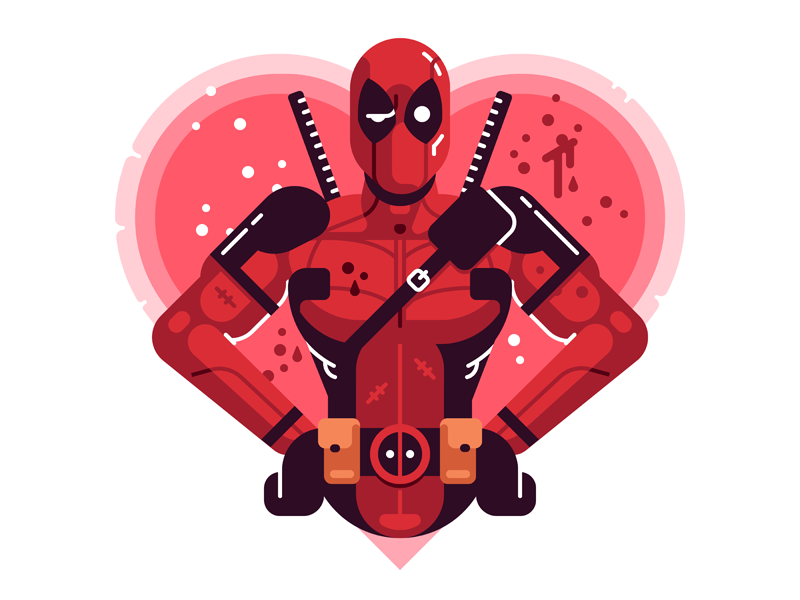 Deadpool Valentine movie comics passion love valentine superhero deadpool marvel illustration vector