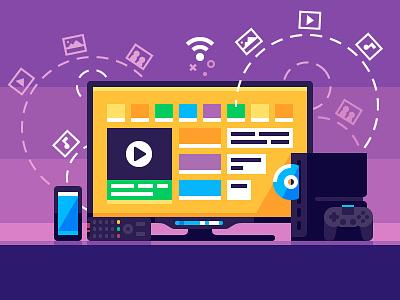 Home Media Center illustration remote control entertainment set technology smartphone flat gamepad console tv vector media