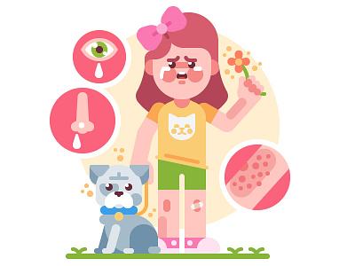Allergy girl character vector dermatitis dog symptom allergic pollen hay fever allergen rashes allergy