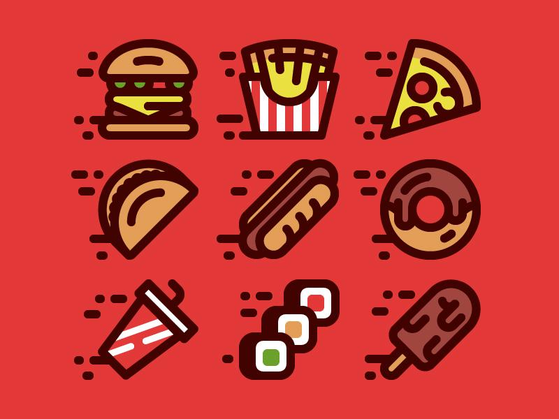 Fast Food Icons icon flat vector hot dog taco pizza cafe rolls hamburger fries food fast food