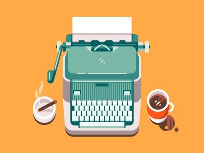 Retro Typewriter icon old game cigar illustration flat retro vector journalism writer vintage typewriter