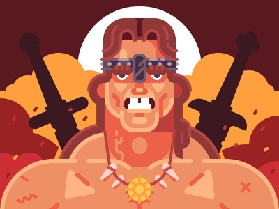 Conan the Barbarian hero cartoon game character illustration flat vector schwarzenegger arnold conan barbarian conan the barbarian