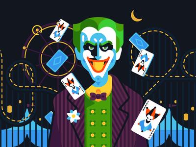 Gotham | Joker fanart bat villain illustration flat vector character comics dc joker city gotham