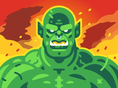 Warcraft   Orc fanart warrior draenor flat vector illustration horde orc movie warcraft game character