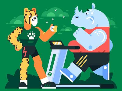 Cheetah's Gym sport treadmill workout gym flat illustration vector game animal rhino cheetah character
